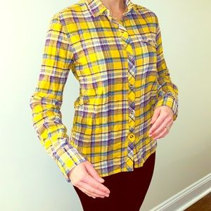 Yellow and purple flannel button down